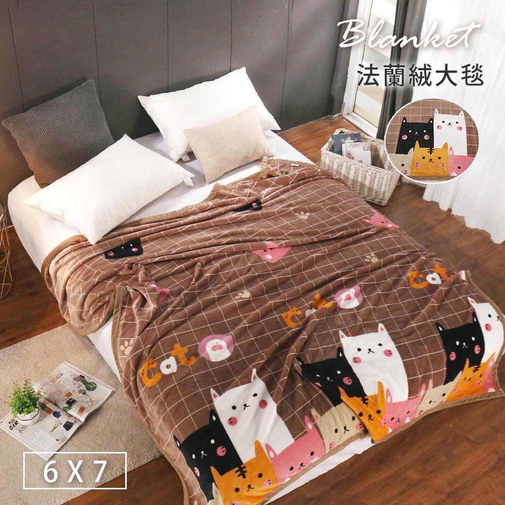 BELLE VIE 特大尺寸 專櫃厚邊保暖金貂法蘭絨毯 (180x210cm) 貓咪