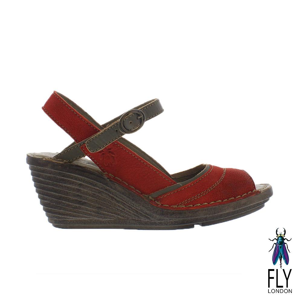 Fly London女Gami魚口描邊真皮楔型高跟涼鞋咖邊紅