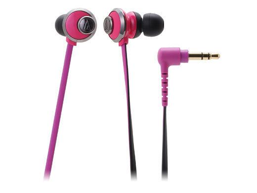 台中平價鋪全新鐵三角ATH-CKF77耳塞式耳機粉紅優美曲線女性專屬台灣鐵三角公司貨
