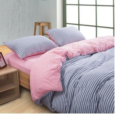 天竺棉四件套純棉簡約條紋床單被套針織棉全棉床笠床上用品粉藍中密