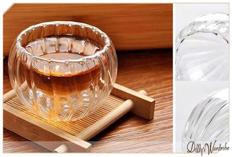 Dolly生活館功夫茶具手工耐熱透明雙層南瓜條紋玻璃杯品茗杯小茶杯20862