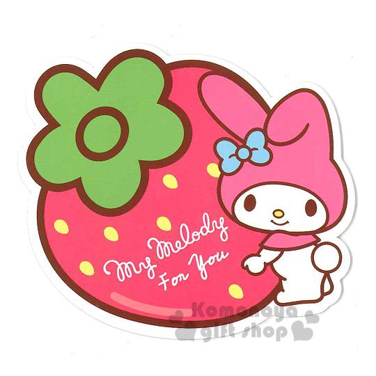 〔小禮堂〕美樂蒂 造型硬式萬用卡片《粉.站姿.拿草莓》附信封 4714581-22530