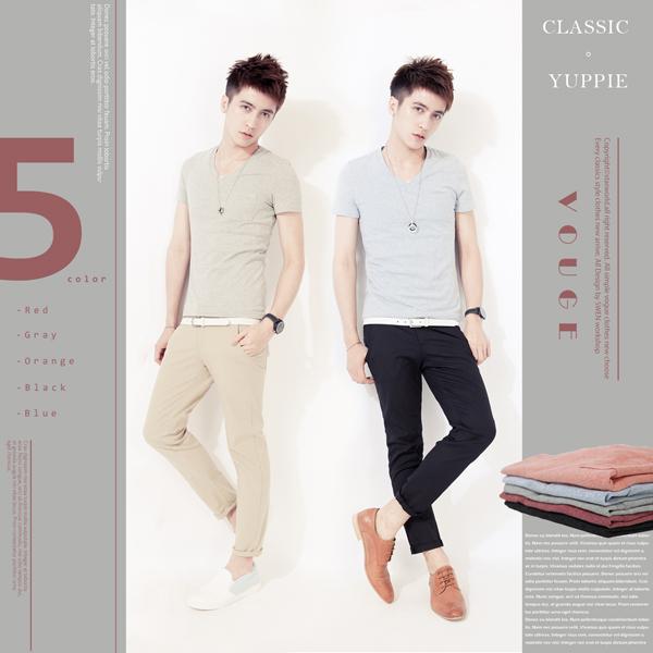 SW韓修身顯瘦棉質萊卡口袋5色彩棉窄版V領短袖T雅痞95 cotton K11153