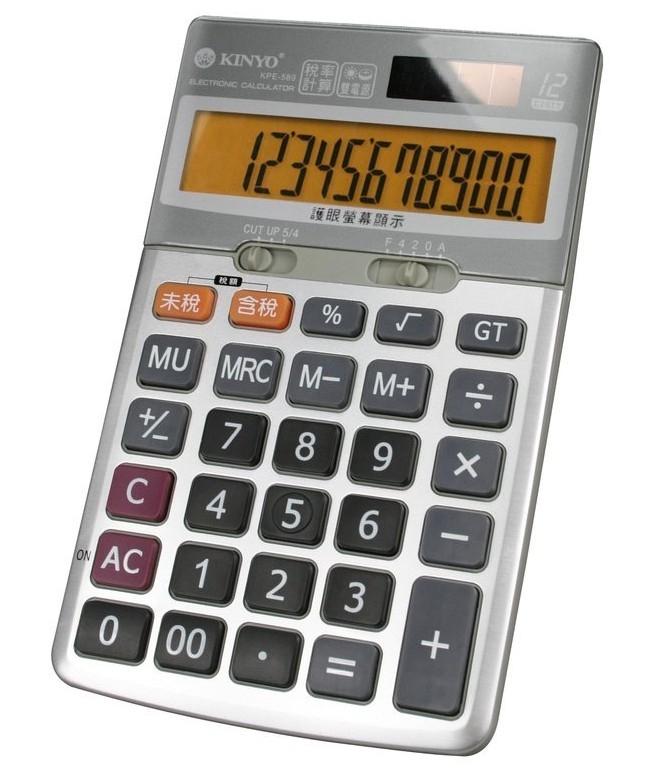 新竹超人3C KINYO耐嘉KPE-589太陽能電池雙電源桌上型稅率計算機計算機傾斜腳架設計