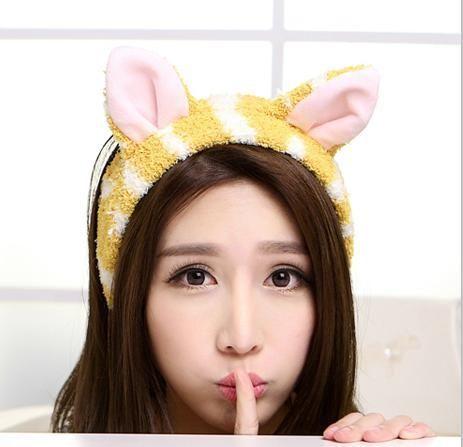 F0472貓耳朵束發帶韓國洗臉敷面膜發箍卡通可愛化妝束發巾