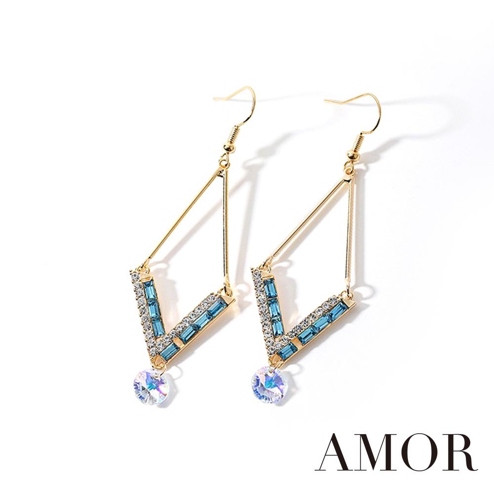 AMOR 炫彩施華洛世奇元素水晶幾何耳環/配飾