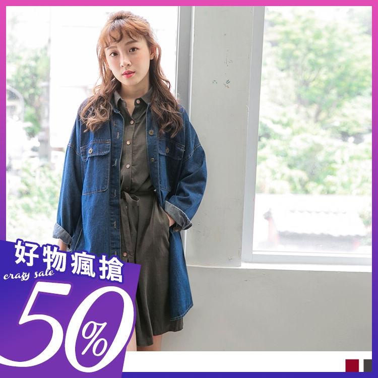 《DA4959-》附綁帶素色長袖襯衫洋裝.2色 OB嚴選