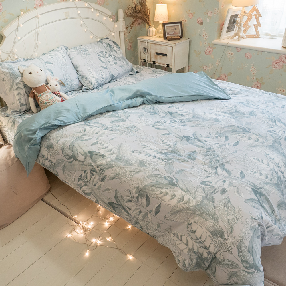 天絲床組 蘇美島D4雙人薄床包鋪棉兩用被四件組(60支) 100%天絲 棉床本舖