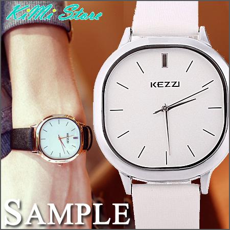 KEZZI簡約酒桶方型錶盤無印簡約方框刷紋皮革錶韓國復古懷舊男錶女錶情侶錶KIMI store