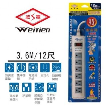威電牌3孔1開6插電腦延長線15A 12尺WT-613-12