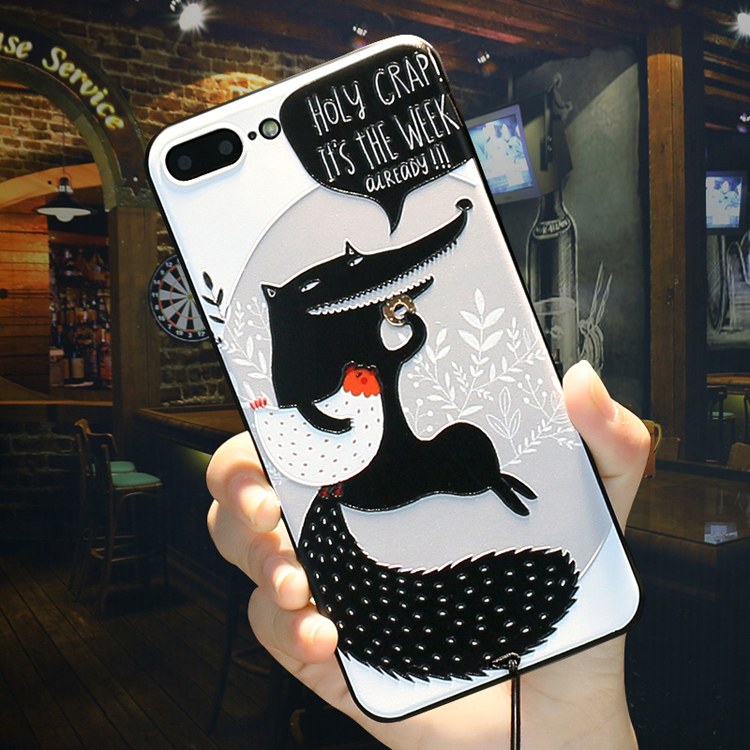 iphone 6 plus手機殼iphone 6s手機套iphone 6手機保護殼蘋果6S Plus創意浮雕卡通潮男女款送掛繩