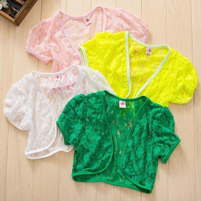 韓版《百搭蕾絲款》短版罩衫~小外套