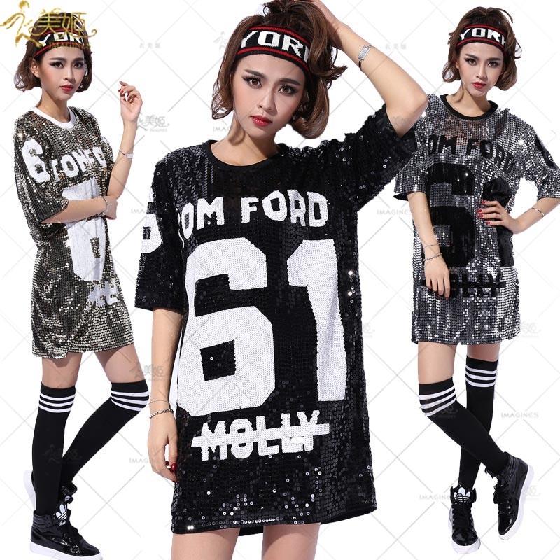 衣美姬♥閃亮長板T恤 休閒嘻哈街舞衣服 單穿外出百搭款