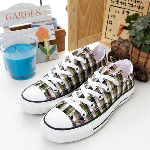 CONVERSE短筒帆布鞋-ALL STAR-英倫風潮-綠黑格紋-1102U170067-女