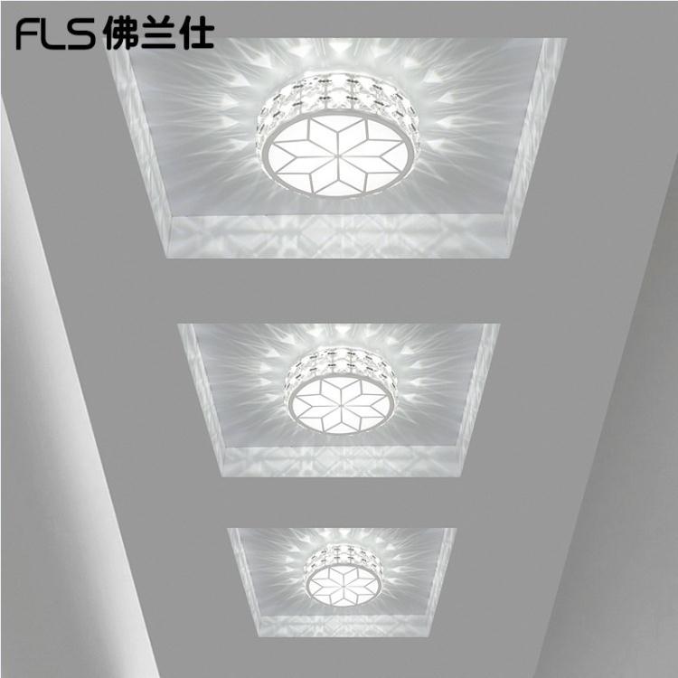 圓形水晶LED過道燈走廊燈玄關燈門廳陽臺燈造型射燈筒燈具大咖玩家TW