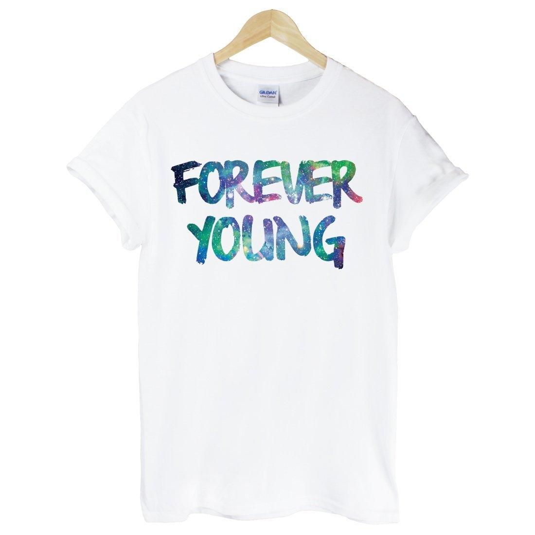 Forever Young-Galaxy短袖T恤-白色 永遠年輕 銀河系 三角形 宇宙 文青 時尚 設計 自創 品牌
