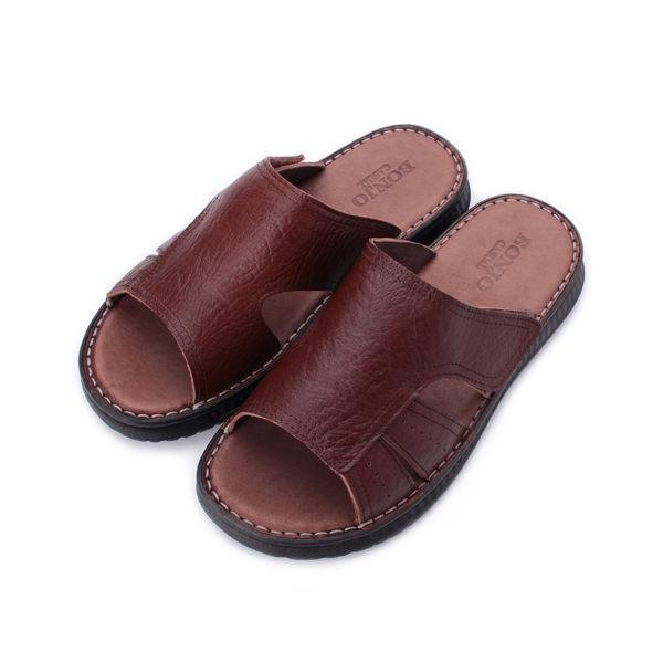 BONJO 素面真皮套式拖鞋 咖 男鞋 鞋全家福