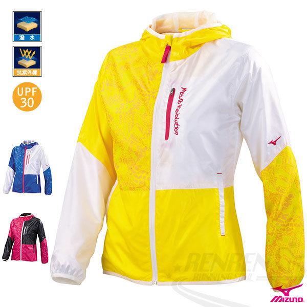 MIZUNO美津濃女休閒平織運動套裝外套運動套裝上黃*白