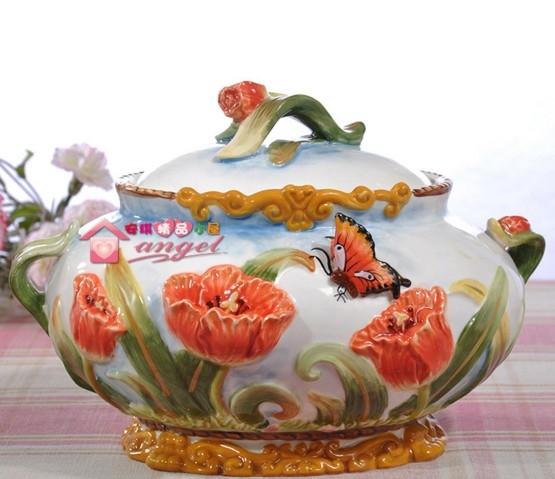 協貿國際簡歐鬱金香陶瓷玻璃糖果罐儲物罐