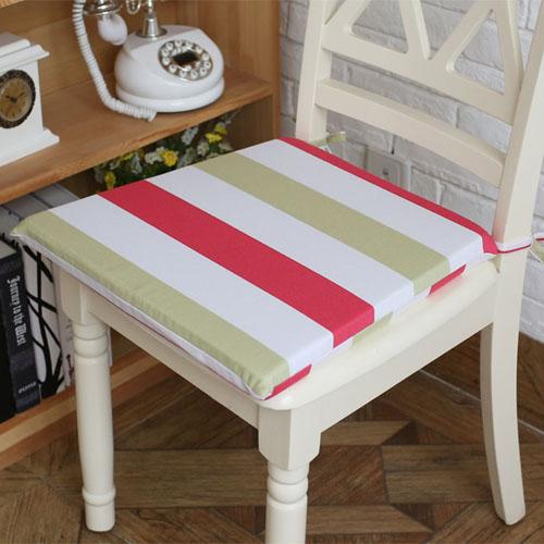 [超豐國際]玫紅黃綠條紋系列全棉純棉餐椅墊 坐墊海綿墊座椅墊1入