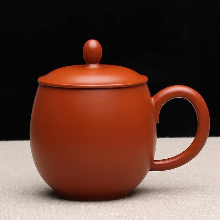 超豐國際宜興紫砂茶杯主人杯純全手工帶蓋杯子老板禮品原礦朱泥龍蛋杯1入