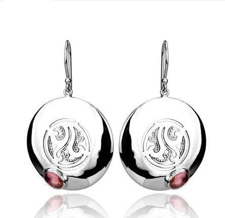 銀圓環耳環鑲嵌碧璽女士首飾品新
