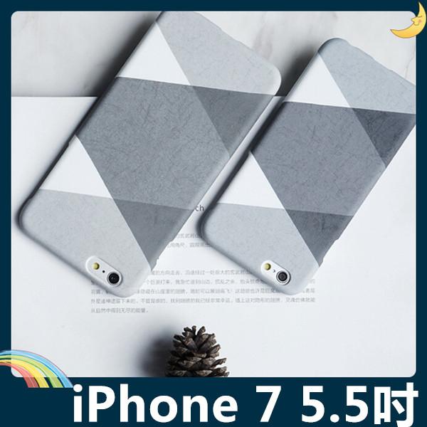 iPhone 7 Plus 5.5吋黑白灰撞色保護套PC硬殼黑白格調時尚撞色輕薄簡約款手機套手機殼背殼外殼
