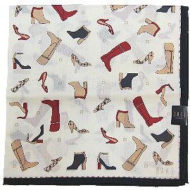 【波克貓哈日網】日系DAKS 手帕領巾◇鞋子圖案◇《50x50 cm》黑色收邊