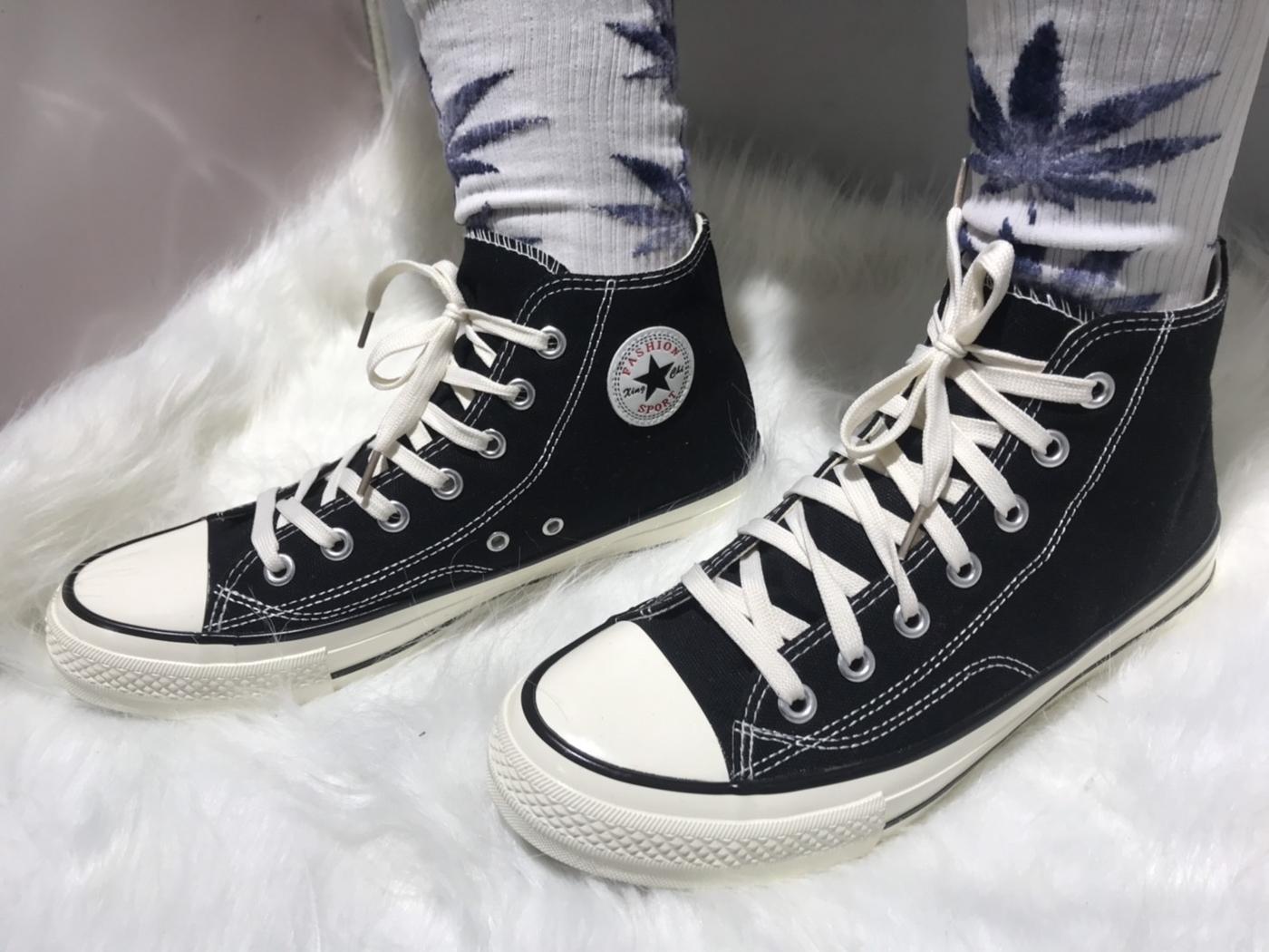 X-INGCHI. 擦油基本男高統布鞋 黑 NO. X0013