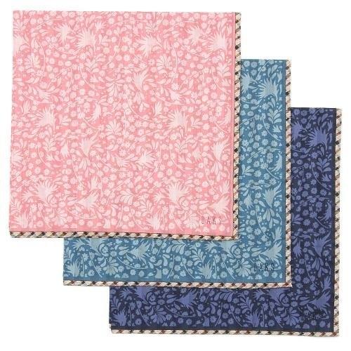 【京之物語】日本製DAKS花草叢林女性絲巾(手帕)-綠色/藍色/粉色
