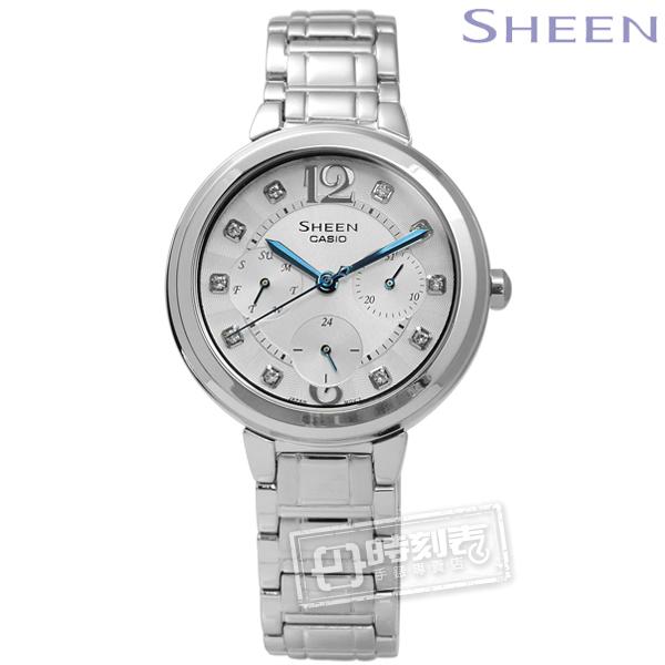 SHEEN CASIO SHE-3048D-7A卡西歐典雅情人施華洛世奇三環不鏽鋼手錶銀色34mm