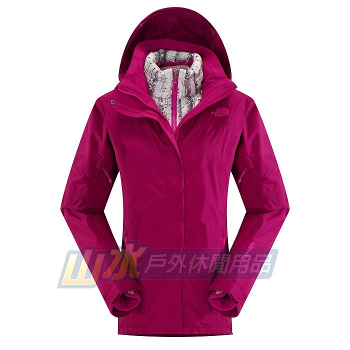 山水網路商城美國北臉TNF女GT羽絨兩件式羽絨外套GORE-TEX防水透氣夾克CUF1紫紅