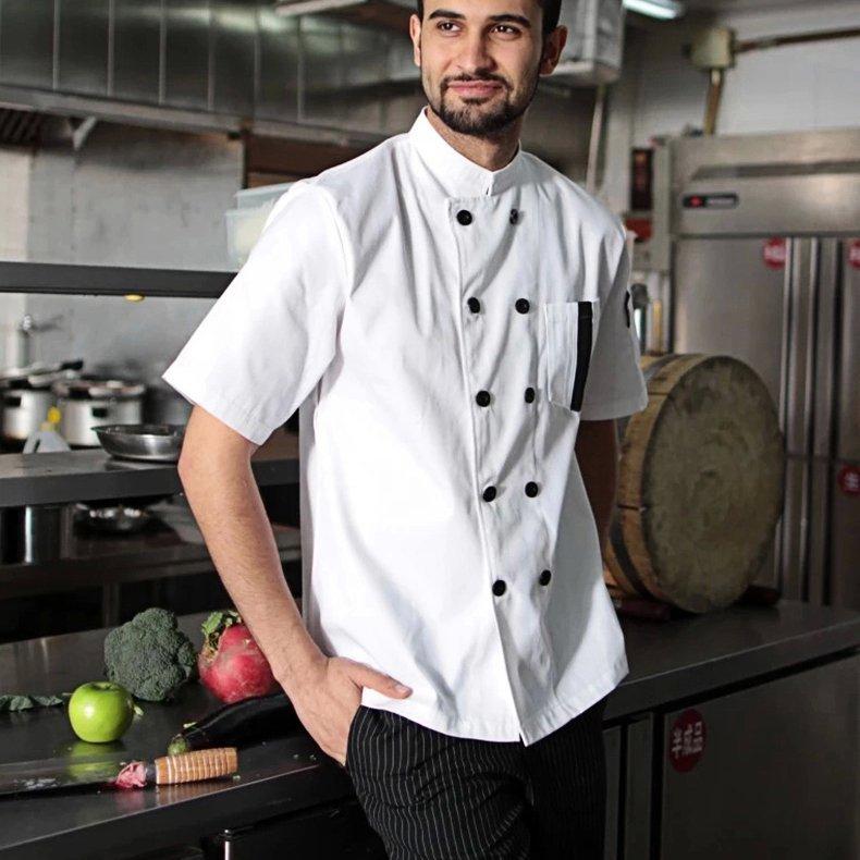 高檔透氣網雙排扣廚師服餐廳酒店廚師長精品短袖工作服2色YK150