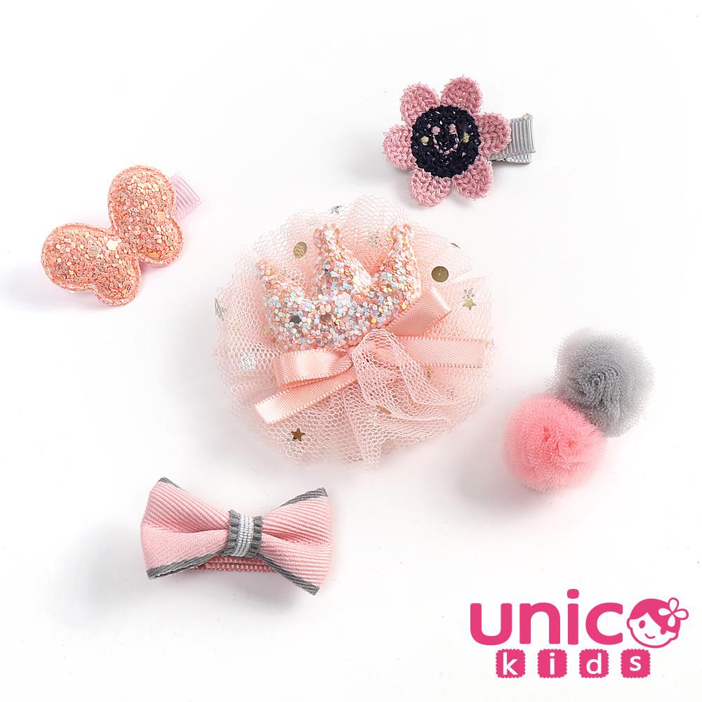 UNICO 兒童 皇冠紗甜美系列全包布髮夾組-5入組