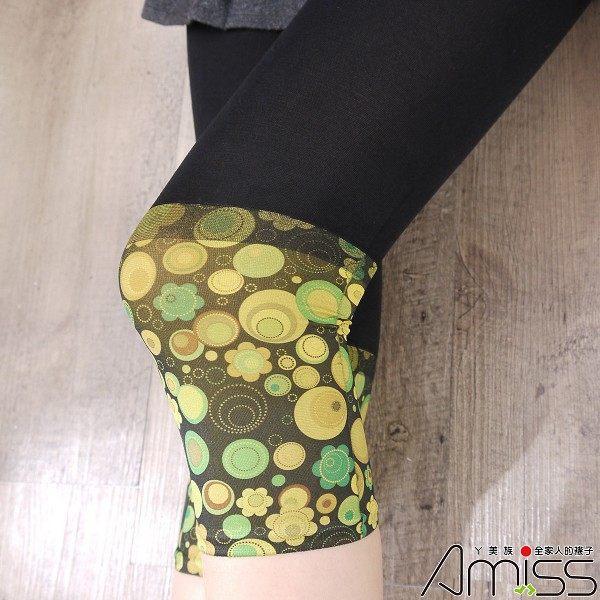 Amiss-襪子團購網♥【A213-23】七分雙色拼接內搭-泡泡(芥末黃)