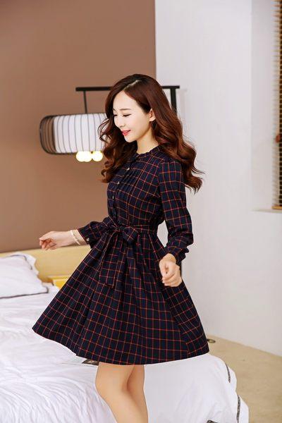 3C膜露露秋冬新款長袖顯瘦復古文藝風格小洋裝中大尺碼百褶格子連身裙