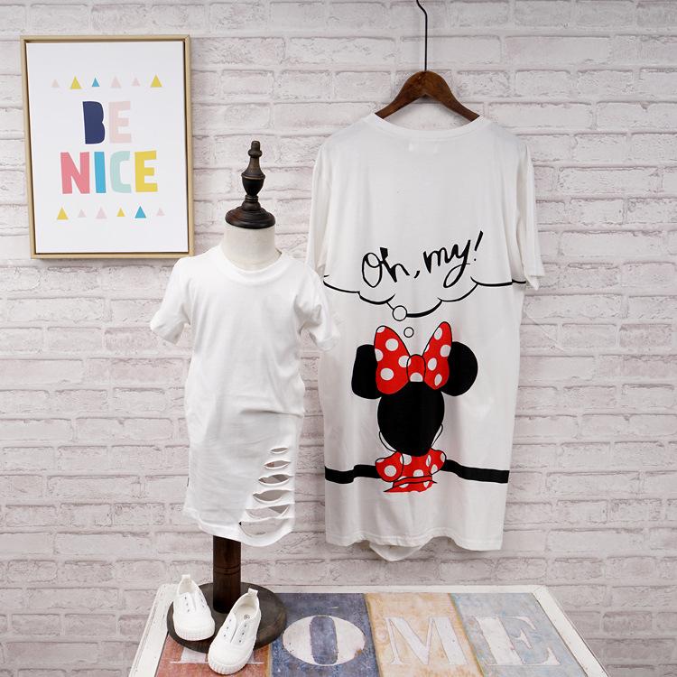 親子裝。韓版米妮/黛西長版款圓領短袖T恤親子裝。女童款*繪米熊童裝* (BD60716)