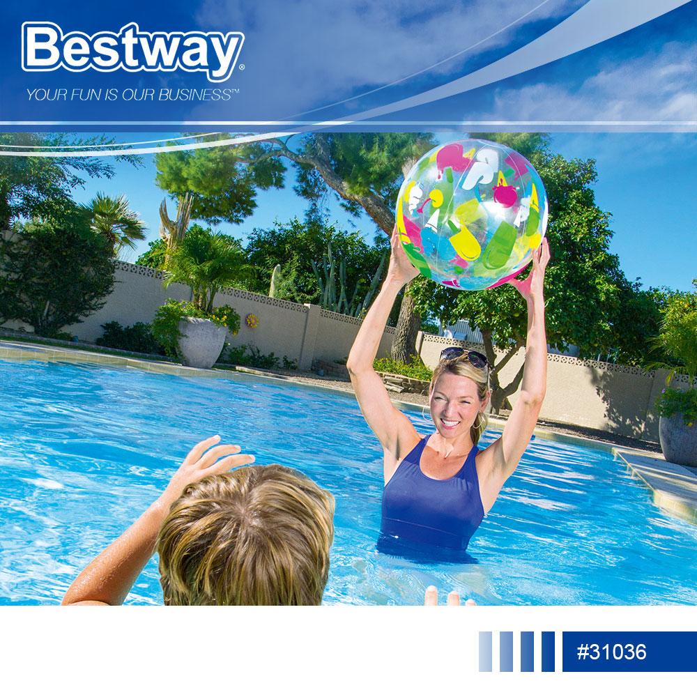 捷運新埔站*Bestway 31036彩色充氣沙灘球51cm.20吋透明海灘球充氣球沙灘排球玩具球戲水球