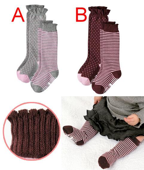 *甜蜜蜜親子童裝*日單《點點條紋款》中長短襪((二枚組)) 13-18cm