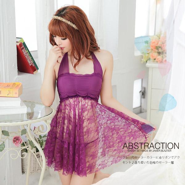 情趣用品阿性  柔情依戀薄紗襯衣.溫柔性感蕾絲睡衣(紫) 洋裝