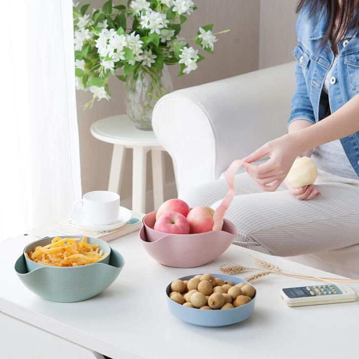 二件套環保可分解小麥秸稈乾果盤帶垃圾盒果盤乾果盒糖盒