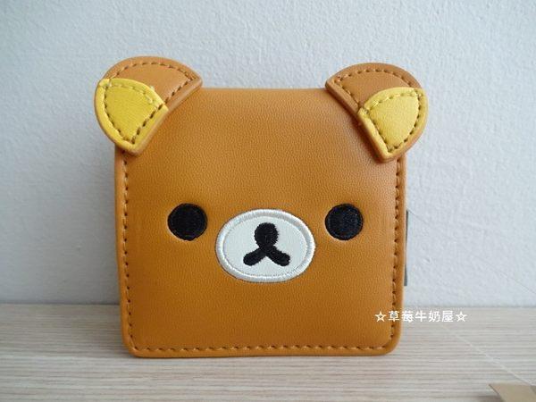 ☆草莓牛奶屋☆日本進口【SAN-X懶懶熊】大臉系列扣式零錢包