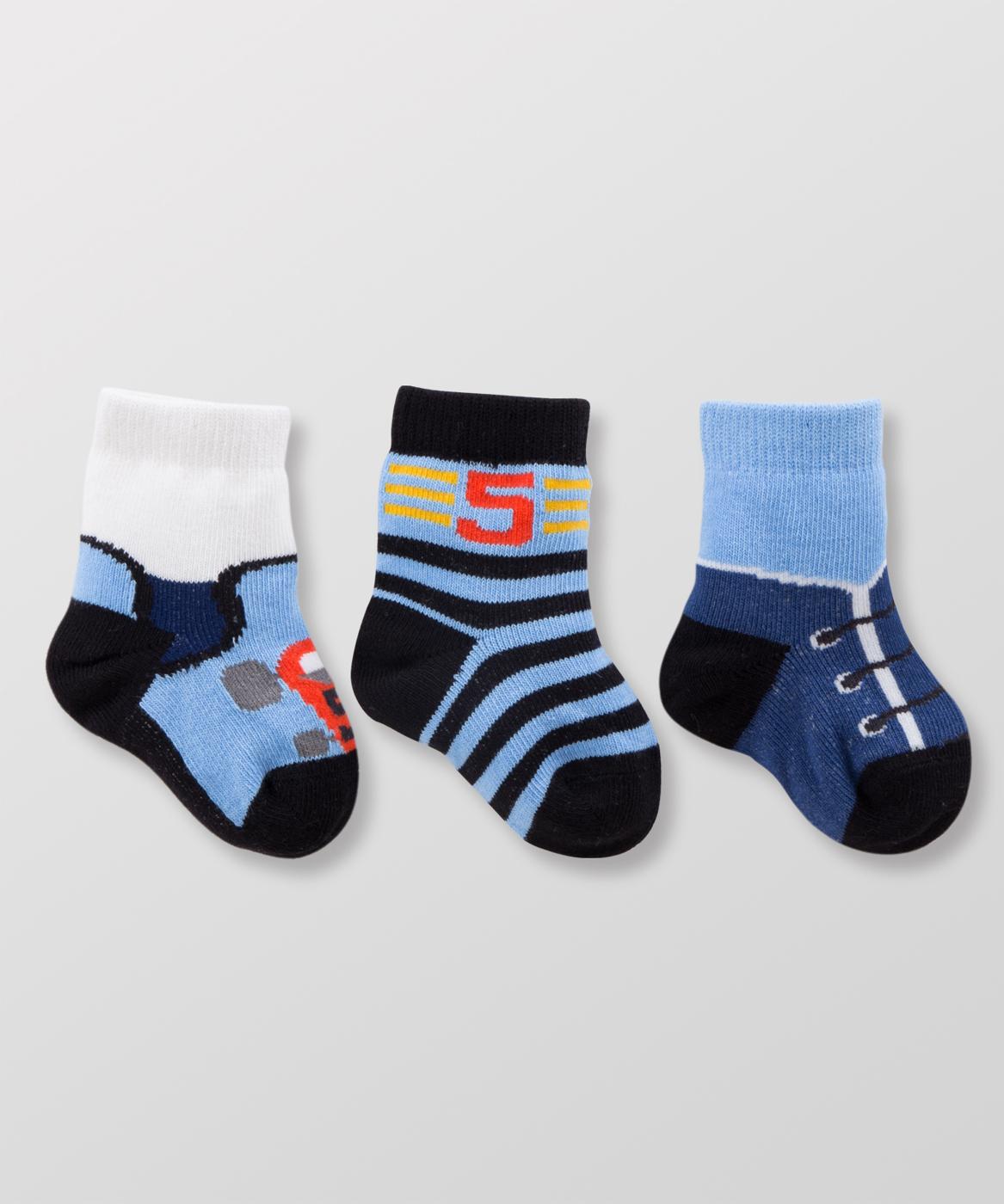 Hallmark Babies男嬰造型嬰兒襪三件裝HC3-B07-A1-AB-MB