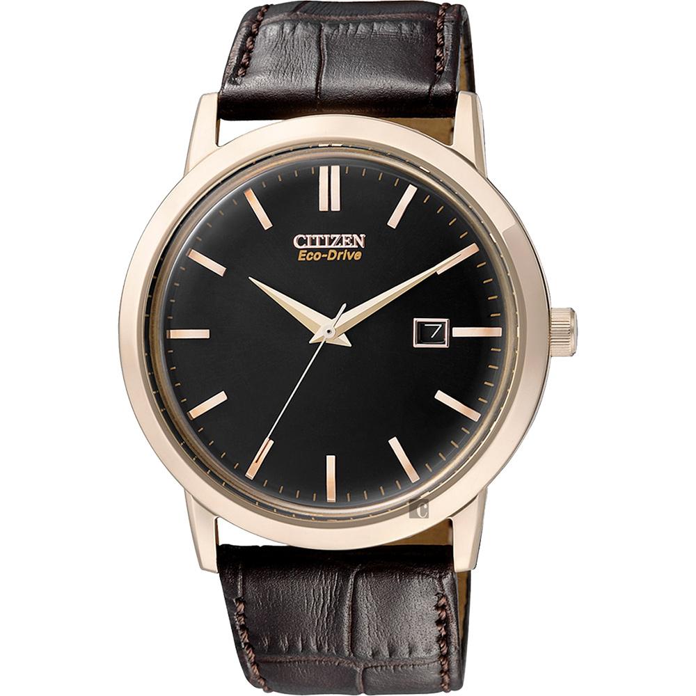 CITIZEN星辰Eco-Drive光動能復刻手錶-黑x咖啡40mm BM7193-07E