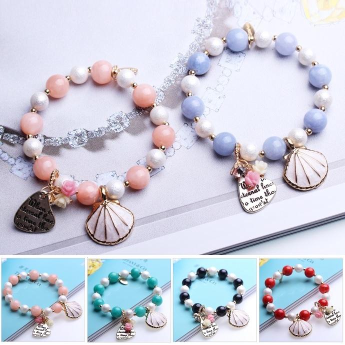 潘朵拉風格唯美薔薇海洋貝殼串珠手鍊