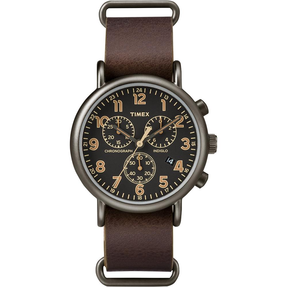 【TIMEX】天美時 Weekender Chrono週末三眼系列計時手錶(黑/褐色 TXT2P85400)