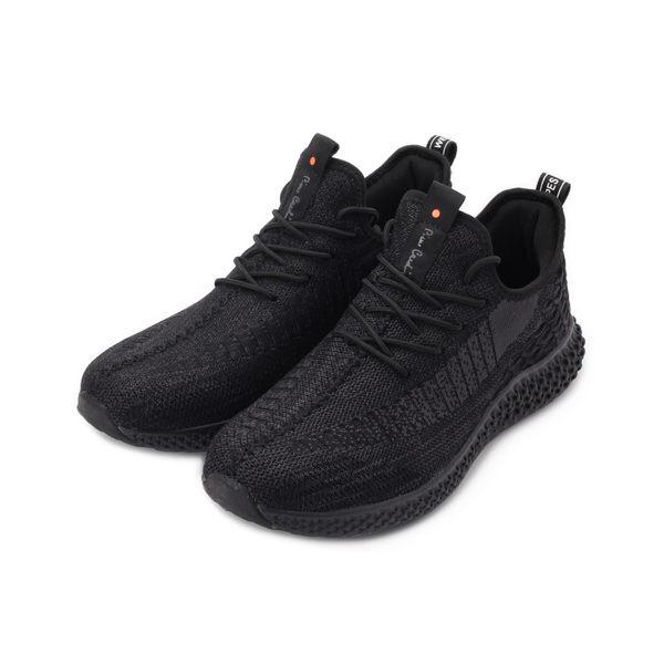 皮爾卡登 雙色飛織襪套休閒鞋 黑 男鞋 鞋全家福