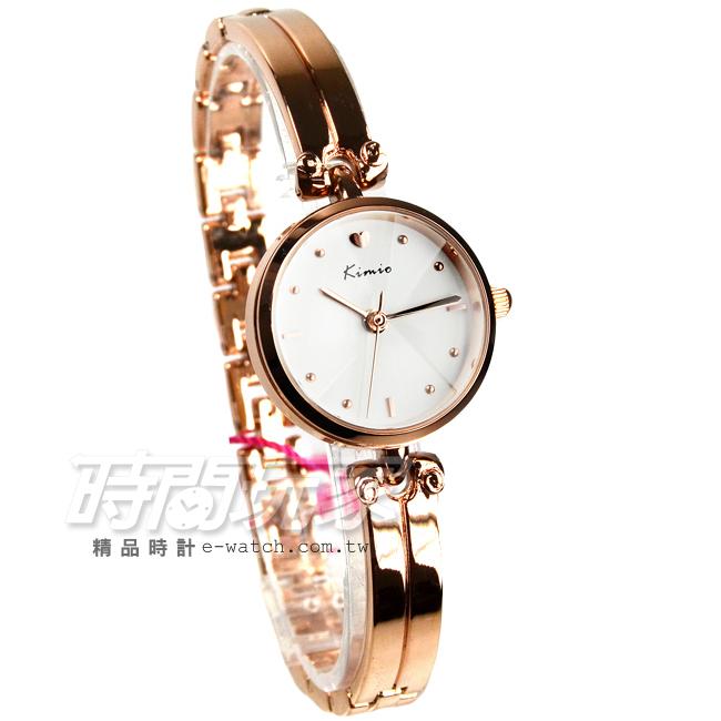 Kimio金米歐簡約時刻玫瑰金氣質腕錶防水手錶手鍊錶玫瑰金電鍍女錶K6041玫