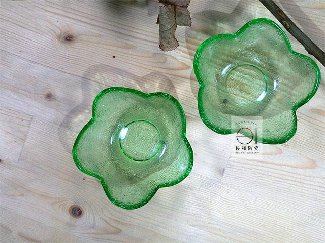 佐和陶瓷餐具批發 【XL060827-8 綠花形珍味小缽-日本製】日式 調味碟 透明小缽 飯店