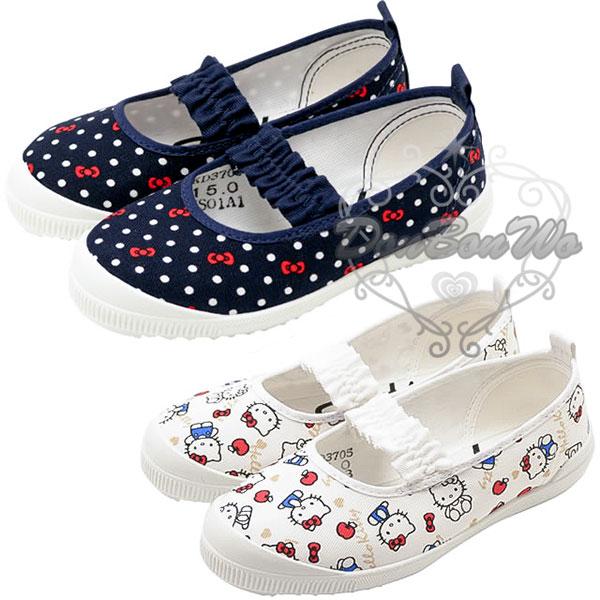 KITTY兒童室內鞋韻律鞋帆布防滑點點藍161501多圖白010551通販屋